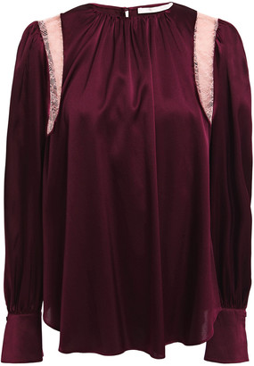 Jonathan Simkhai Lace-trimmed Stretch-silk Satin Blouse