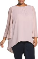 Vince Camuto Plus Size Women's Pleat Sleeve Georgette High/low Blouse