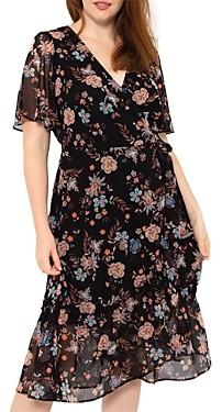 Estelle Plus Terrace Floral Print Midi Wrap Dress