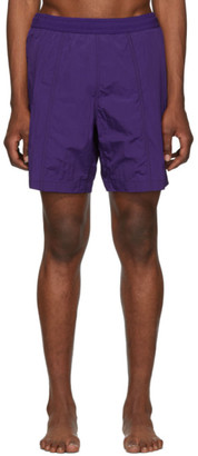 Ami Alexandre Mattiussi Purple Logo Long Swim Shorts