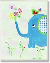 Stupell Industries The Kids Room Elephant with Flowers and Green Bird Wall Plaque