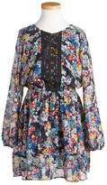 Ella Moss Floral Print Lace Placket Dress (Big Girls)