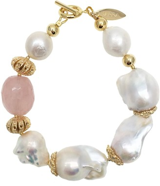 Farra Baroque Freshwater Pearls & Rose Quartz Brillant Bracelet