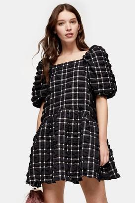 Topshop Black And White Checked Mini Bubble Dress