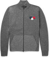 Moncler - Maglione Appliquéd Stretch Wool-blend Zip-up Sweater