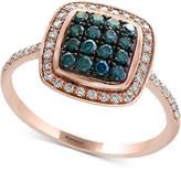 Effy Bella Bleu by Diamond Cluster Halo Ring (3/8 ct. t.w.) in 14k Rose Gold