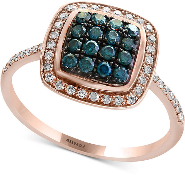 Effy Bella Bleu by Diamond Cluster Halo Ring (3/8 ct. t.w.) in 14k Rose Gold