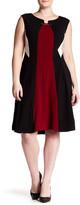 Sandra Darren Colorblock Fit & Flare Dress (Plus Size)