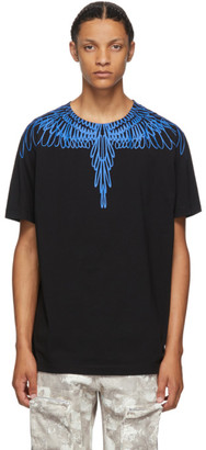 Marcelo Burlon County of Milan Black and Blue Pictorial Wings T-Shirt