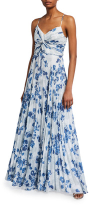 Shoshanna Girona Evening Shadow Floral Pleated Dress