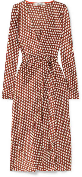 Diane von Furstenberg Tilly Polka-dot Silk-satin Wrap Dress - Brown
