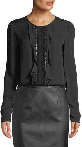 St. John Ruffle-Front Long-Sleeve Silk Georgette Blouse