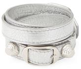 Balenciaga Buckle Leather Wrap Bracelet