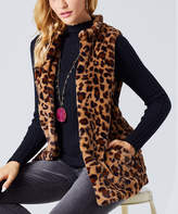 Suzanne Betro Women's Sweater Vests 101Brown - Brown Leopard Print Vest - Women