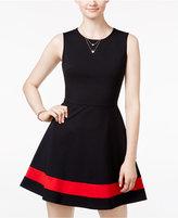 B. Darlin Juniors' Colorblocked Fit & Flare Dress