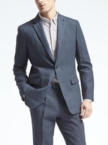 Banana Republic Standard Navy Houndstooth Linen Suit Jacket