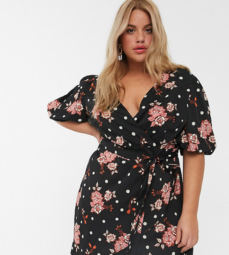 Simply Be wrap dress with balloon sleeves in floral print-Black