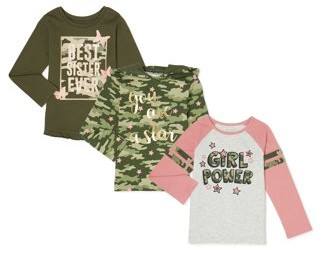 Garanimals Baby Girls & Toddler Girls Pullover Hoodie Top and Long Sleeve T-shirts, 3-Pack (12M-5T)