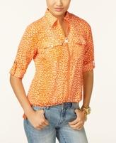 MICHAEL Michael Kors Petite Leopard-Print Utility Shirt