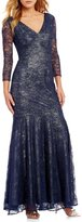 Kay Unger V-Neck Lace Gown
