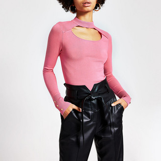 River Island Pink cut out choker knitted jumper