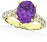 Allurez (4.42ct) 18k Yellow Gold Oval Cut Amethyst and Diamond Engagement Ring
