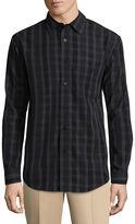 Haggar Long Sleeve Plaid Button-Front Shirt