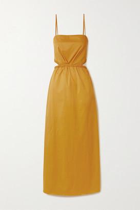 Johanna Ortiz Ancient Sunrise Braid-detailed Cutout Cotton-blend Poplin Maxi Dress - Saffron