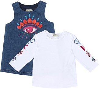 Kenzo Kids Baby cotton-blend dress and top set