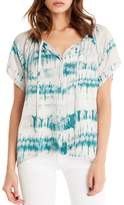 Michael Stars Print Button Front Peasant Top