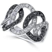 Effy Diamond and 14K White Gold Two-Tone Ring, 1.34 TCW