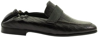 Brunello Cucinelli Embossed Leather Loafers With Precious Band
