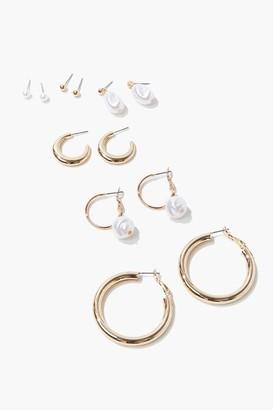 Forever 21 Faux Pearl Hoop Stud Earring Set