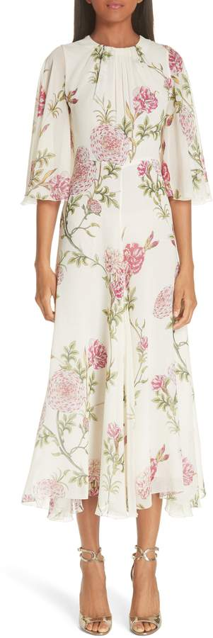 Giambattista Valli Floral Silk Midi Evening Dress