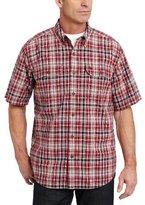Carhartt Men's Fort Plaid Short Sleeve Shirt Button Front Chambray