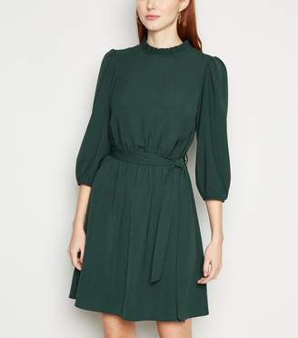 New Look Frill Neck Belted Mini Dress
