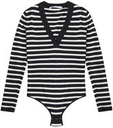 Veronica Beard Decade Striped V-Neck Body Suit