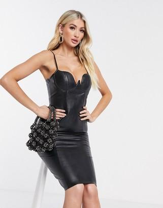 Rare London PU bodycon dress in black