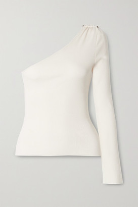The Range Barbell One-sleeve Embellished Ribbed Stretch Tencel Lyocell And Cotton-blend Top - White