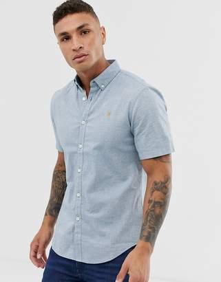 Farah Steen slim fit short sleeve oxford marl shirt in blue