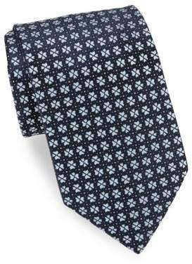 Charvet Navy Split Tree Silk Tie