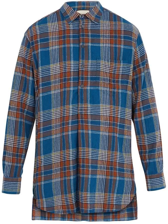 Gucci Checked step-hem wool-blend shirt