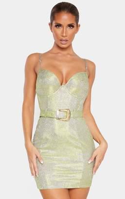 PrettyLittleThing Gold Glitter Strappy Belt Detail Bodycon Dress