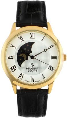 Peugeot Men's Goldtone Stainless Steel Sun MoonPhase Watch