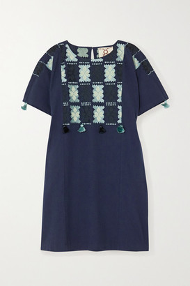 Figue Lucia Embroidered Cotton Mini Dress - Navy