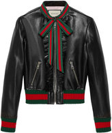 Gucci Ruffle leather bomber jacket - women - Leather/Satin - 44