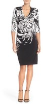 Donna Ricco Print Knot Jersey Sheath Dress