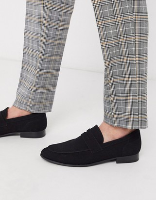Jack and Jones faux suede loafer in black