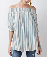 Jane Wormwood & White Stripe Button-Front Off-Shoulder Tunic