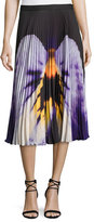 Christopher Kane Pansy-Print Pleated Midi Skirt, Black